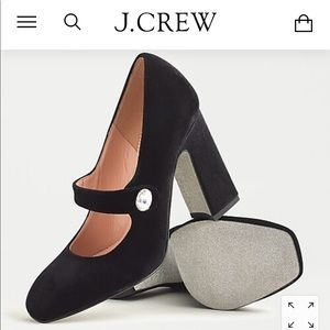 J. Crew Shoes - Black velvet Mary Jane block heels